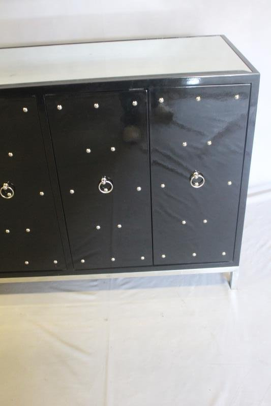 Midcentury Style Black Studded & Mirrored Cabinet. - 3