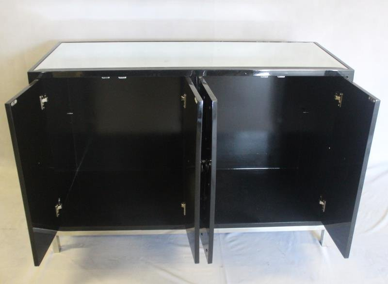 Midcentury Style Black Studded & Mirrored Cabinet. - 4