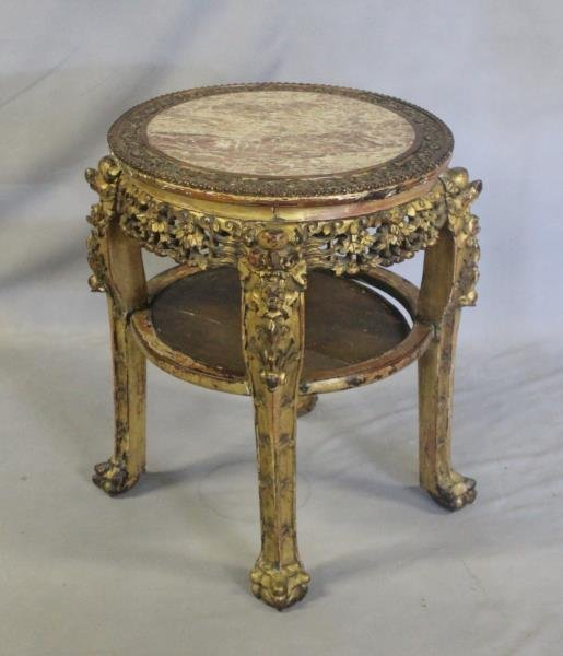Antique Carved and Painted Chinese Hardwood Marble