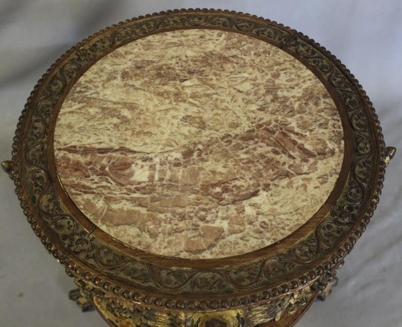 Antique Carved and Painted Chinese Hardwood Marble - 3