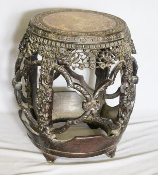 Carved Asian Hardwood Barrell Form Marble Top