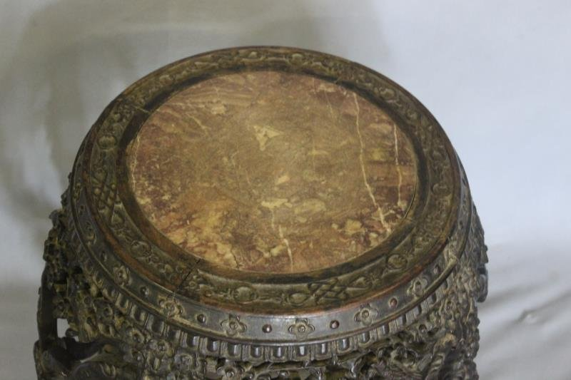 Carved Asian Hardwood Barrell Form Marble Top - 2