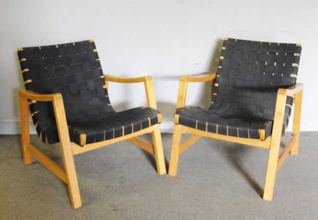 Pair of Jens Risom / Knoll Strap Easy Chairs.