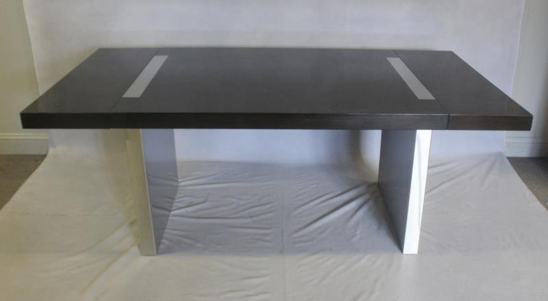 Midcentury Lacquered and Stainless Dining Table