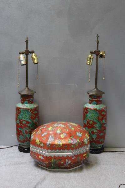 Vintage Asian Lot Including Lidded Vessel & Lamps.