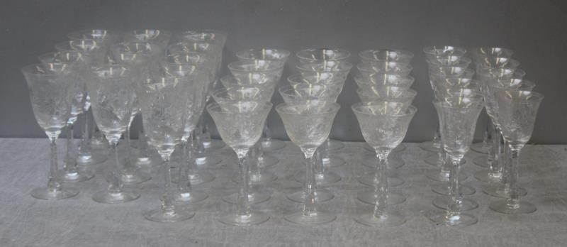 Lot of Art Glass Etched Decorated Goblets.