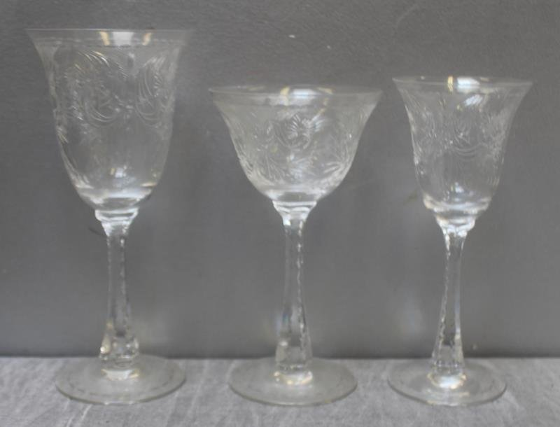 Lot of Art Glass Etched Decorated Goblets. - 2