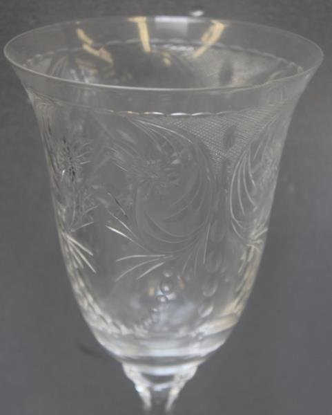 Lot of Art Glass Etched Decorated Goblets. - 3
