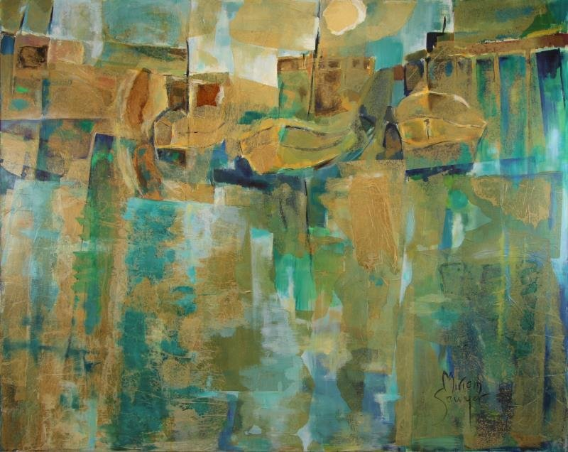 SAWYER, Miriam. Large Modernist Oil and Collage