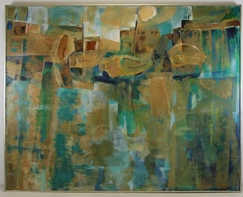 SAWYER, Miriam. Large Modernist Oil and Collage - 2