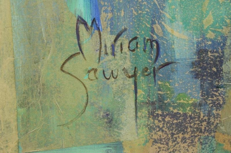 SAWYER, Miriam. Large Modernist Oil and Collage - 4