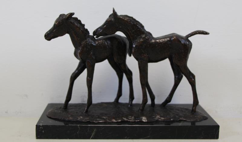 "NEWMARK, Marilyn. Bronze Sculpture ""Pasture Pals""."
