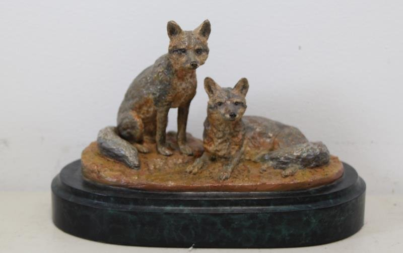 "NEWMARK, Marilyn. Bronze Sculpture ""Two Foxes""."