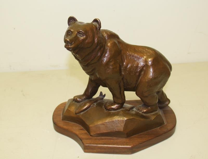MADSEN, Roy. Bronze Sculpture Bear with Fish.