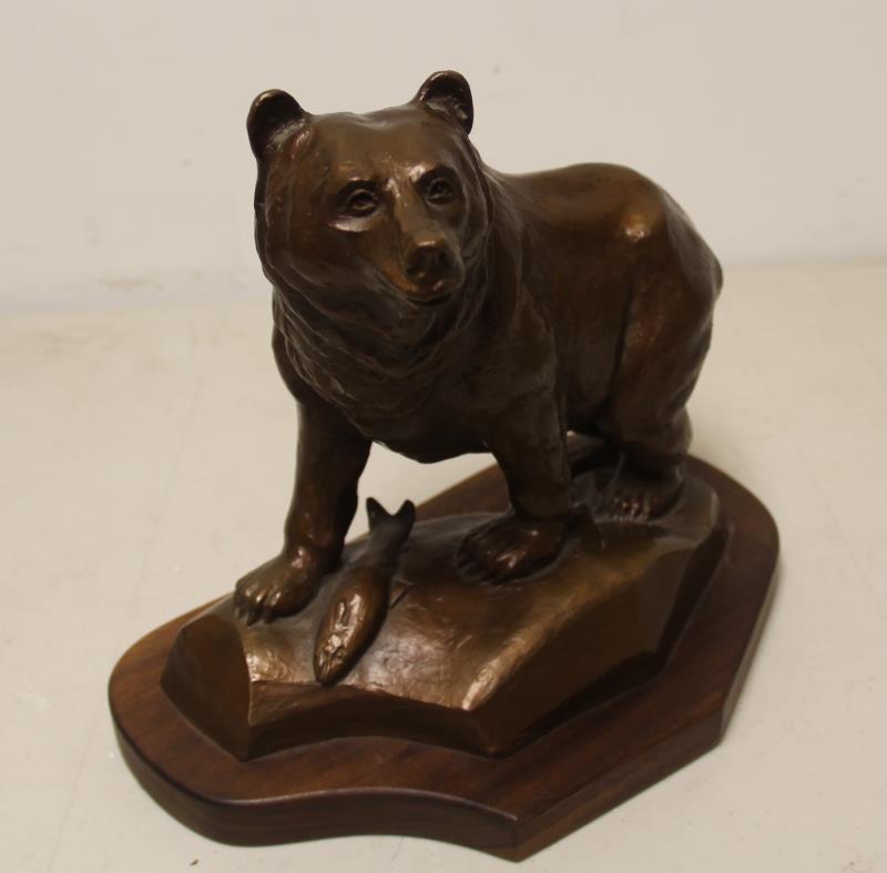MADSEN, Roy. Bronze Sculpture Bear with Fish. - 5