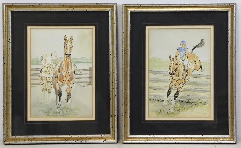 BROWN, Paul. Pair of Equestrian Watercolors.