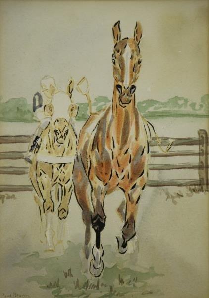 BROWN, Paul. Pair of Equestrian Watercolors. - 2