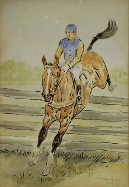 BROWN, Paul. Pair of Equestrian Watercolors. - 3
