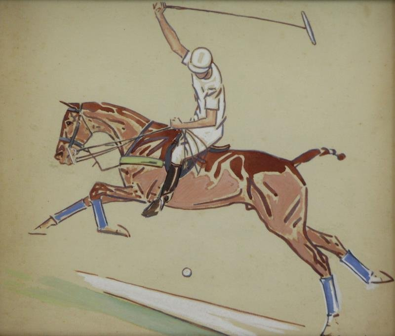 BROWN, Paul. Pair of Gouaches / Paper. Polo - 5