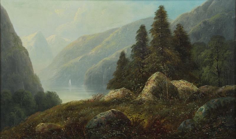 19th C. Oil on Canvas. Hudson River Landscape.