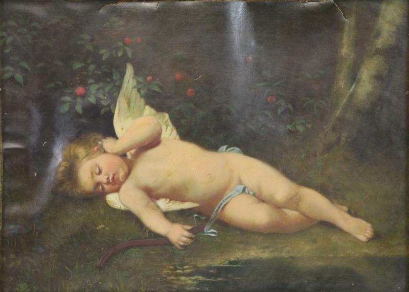 19th C. Oil on Canvas. Sleeping Cherub.