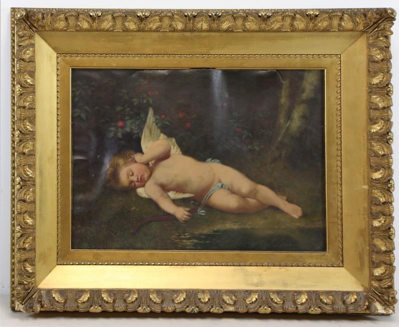 19th C. Oil on Canvas. Sleeping Cherub. - 2