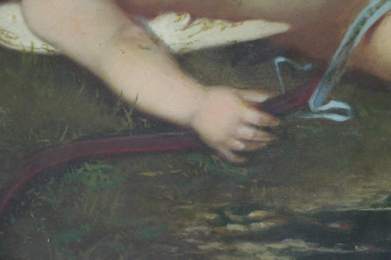 19th C. Oil on Canvas. Sleeping Cherub. - 4
