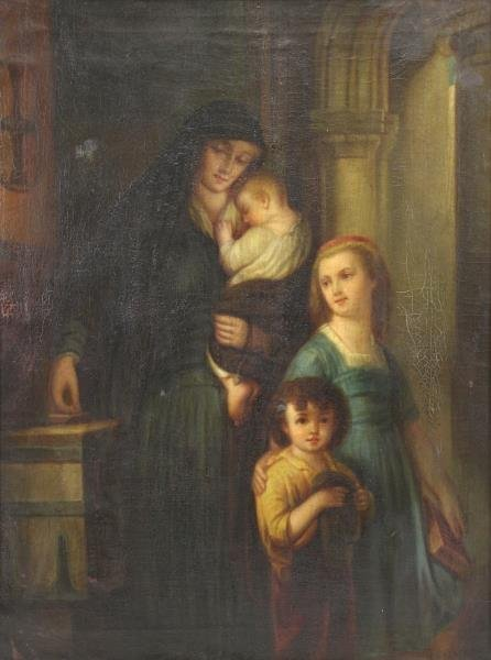"19th C. Oil on Canvas ""The Widows Mite""."