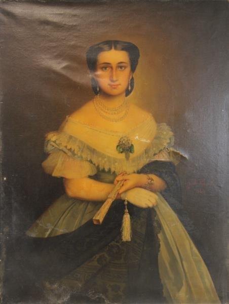 TILLIER, Paul. Oil on Canvas Portrait of a Beauty.