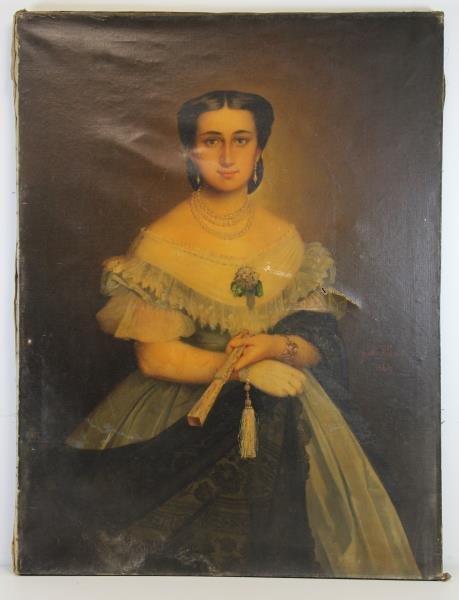 TILLIER, Paul. Oil on Canvas Portrait of a Beauty. - 2