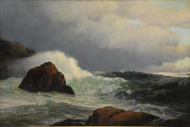 SHEPPARD, Warren. Oil on Canvas. Crashing Waves.