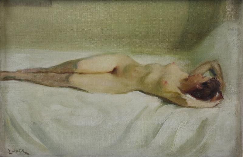 LINDER, Carl Bennett. Oil on Board. Reclining Nude