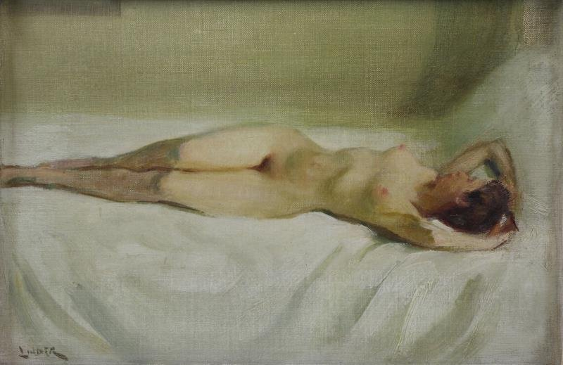 LINDER, Carl Bennett. Oil on Board. Reclining Nude