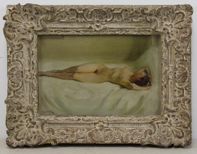 LINDER, Carl Bennett. Oil on Board. Reclining Nude - 2