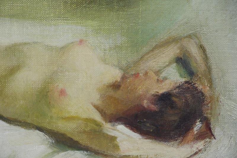 LINDER, Carl Bennett. Oil on Board. Reclining Nude - 3
