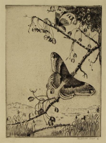 "RHETT, Antoinette, Etching ""Butterflies"""