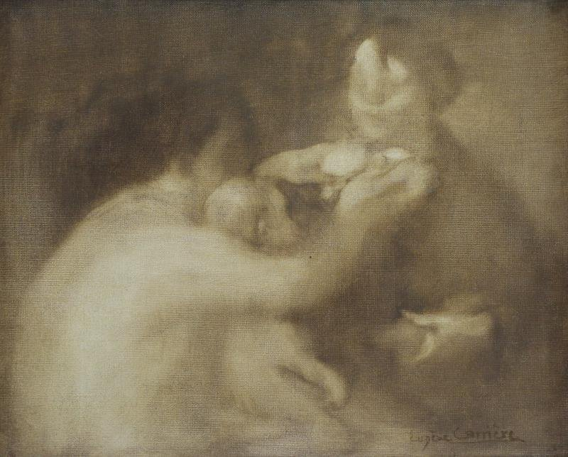 CARRIERE, Eugene. Oil on Canvas. Three Figures.