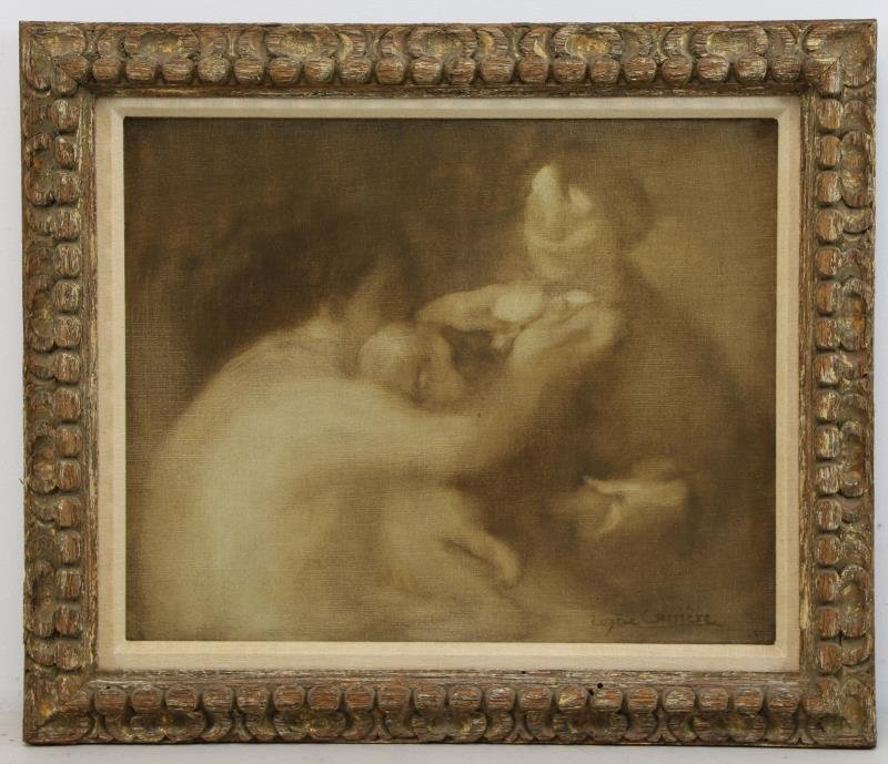 CARRIERE, Eugene. Oil on Canvas. Three Figures. - 2