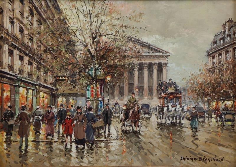 "BLANCHARD, Antoine. Oil on Canvas. ""Rue Royale et"