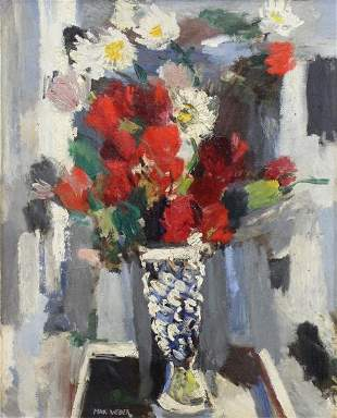 WEBER, Max. Oil on Board. Flowers in a Vase.