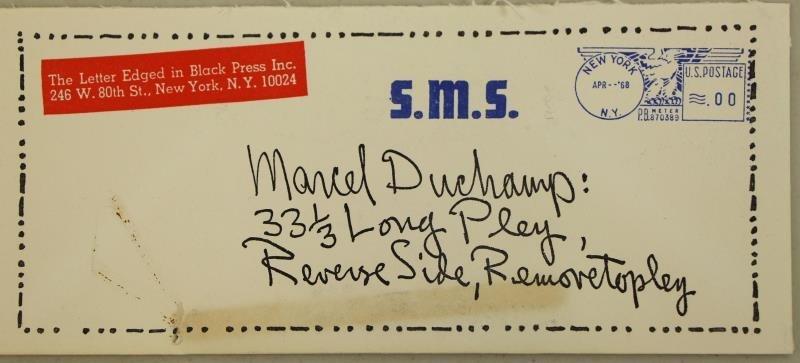 """DUCHAMP, Marcel. """"S.M.S April 1968, No. 2"""". - 10"""