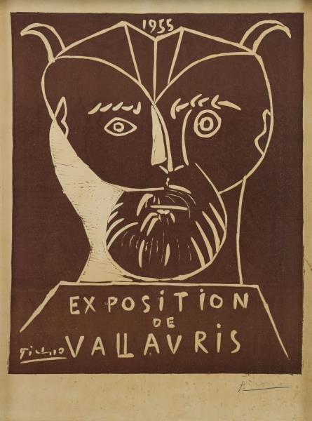 """PICASSO, Pablo. """"Exposition de Vallauris"""" Linocut"""