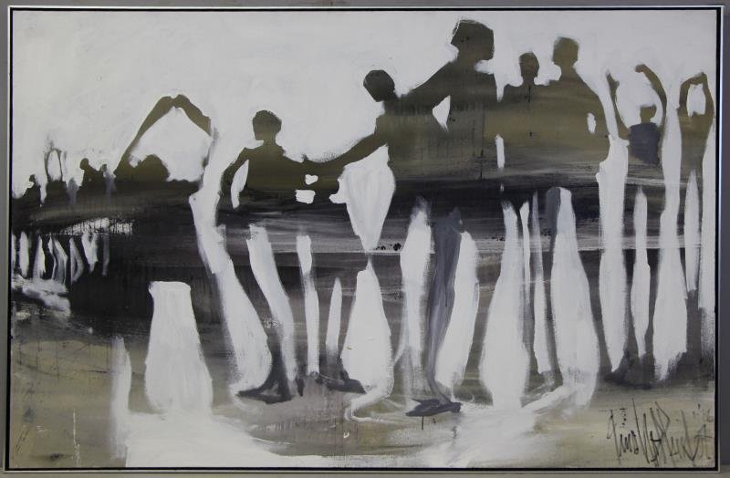 HOLLANDER, Gino. Large Oil on Canvas of Figures. - 2
