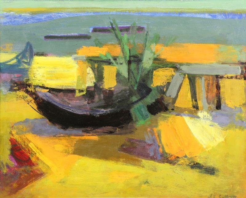 SARTHOU, Maurice. Oil on Canvas. Boats on the