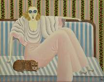OKUMURA Shigeo Oil on Canvas Seated Woman with