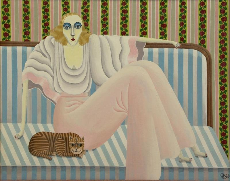 OKUMURA, Shigeo. Oil on Canvas. Seated Woman with