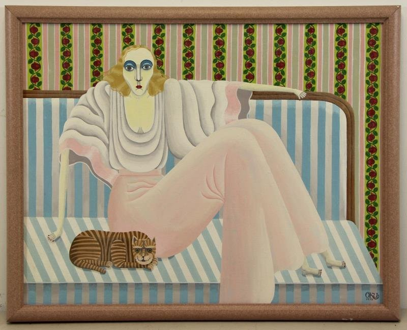 OKUMURA, Shigeo. Oil on Canvas. Seated Woman with - 2