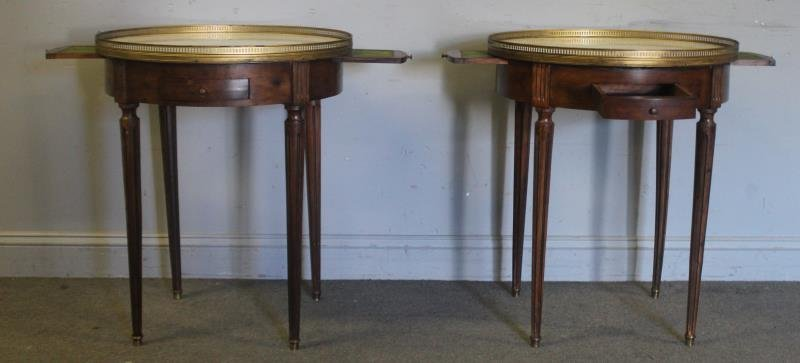 Pair of 1 Drawer Marble Top Builloitte Tables.