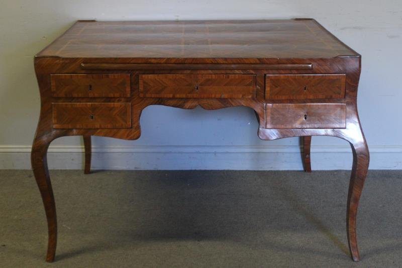 Antique Continental Parquetry Inlaid 2 Drawer