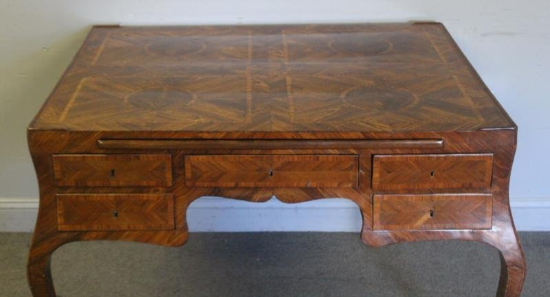 Antique Continental Parquetry Inlaid 2 Drawer - 2